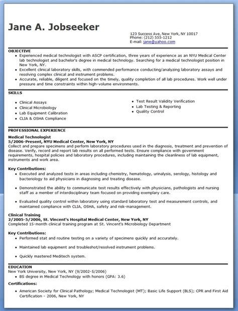 Good Job Objectives For A Resume by Medical Technologist Resume Example Resume Downloads