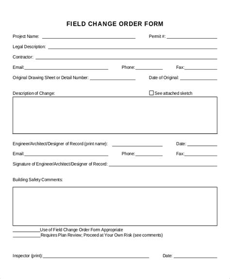 free change order form template sle change order form 12 exles in word pdf