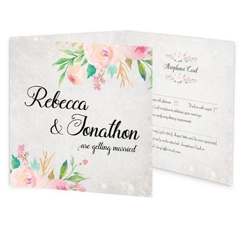floral tri fold wedding invite rsvp loving invitations