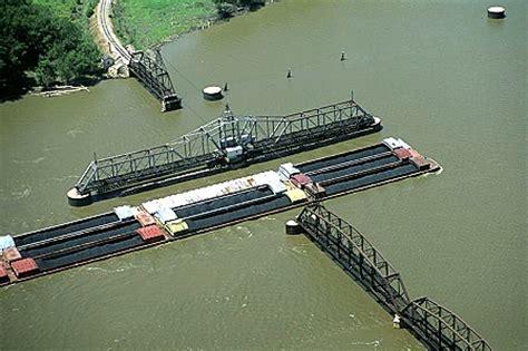 missouri swing state airphoto aerial photograph of barge passing swing bridge