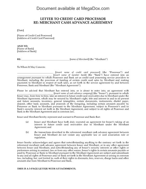 Advance Letter For House Repair Usa Merchant Advance Letter To Credit Card Processor Forms And Business Templates