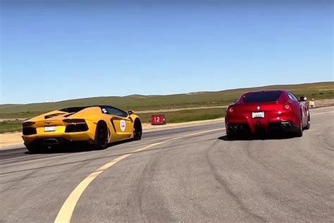 Lamborghini Vs Ferrari by Watch A Ferrari F12 And Lamborghini Aventador Roadster Hit