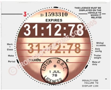 printable road tax disc uk tax disc 1978 14 99