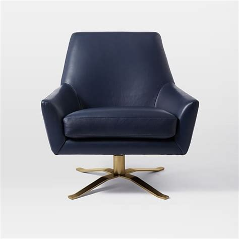 lucas leather swivel base chair west elm