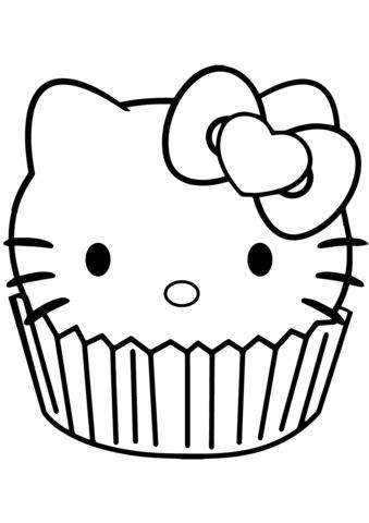 kitty cupcake coloring page  printable