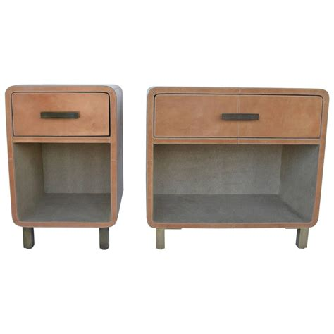 Leather Nightstand Pair Of Leather Upholstered Nightstands At 1stdibs