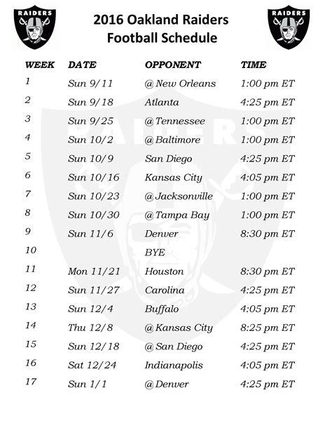printable raiders schedule 2016 printable 2016 oakland raiders schedule draft news