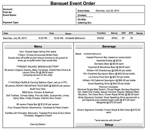What Is A Beo Event Order Template