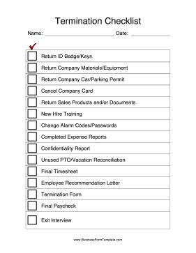 After An Employee Leaves A Company Use This Termination Checklist To Get Back All Company Personal Injury Checklist Template