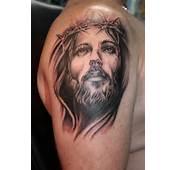 Black N Grey Jesus Portrait Tattoo On Shoulder