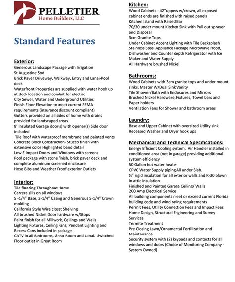 house specification sheet spec sheet