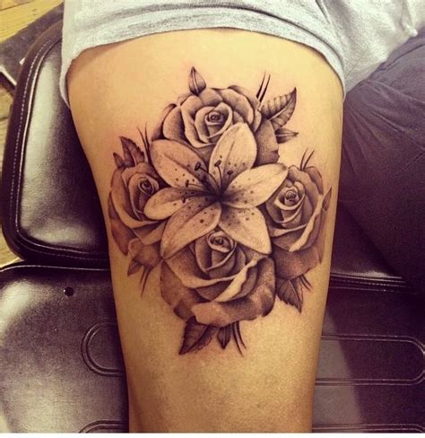 calla lily and rose tattoo and ideas