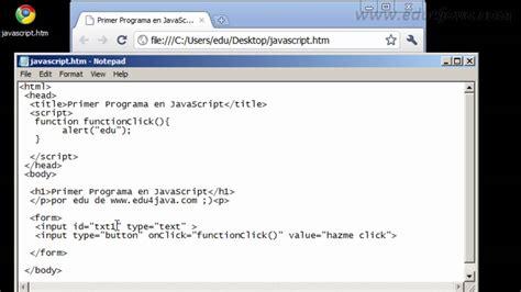 tutorial javascript en pdf tutorial javascript 1 en espa 241 ol primer programa youtube