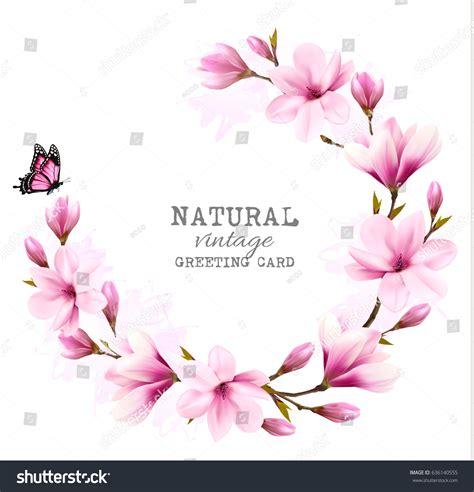abbeville floral wallpaper pink natural natural vintage greeting card pink magnolia stock vector