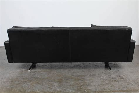 black leather sofa with chrome legs mid century modern black leather sofa with chrome legs for