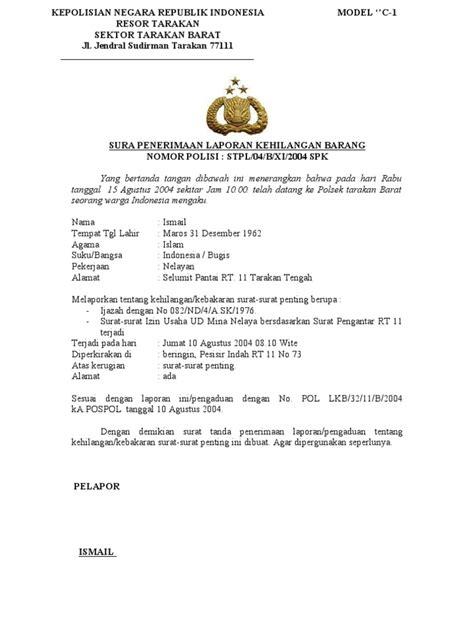 contoh surat tanda penerima laporan kehilangan barang