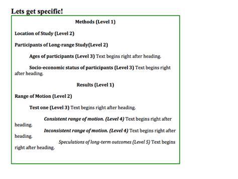 format headings  subheadings