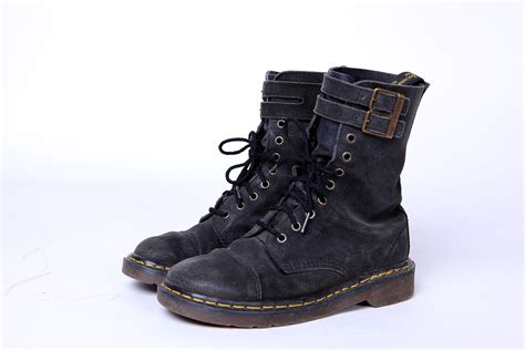 90s Black Suede Doc Martens Combat Boots with Double Buckle 7