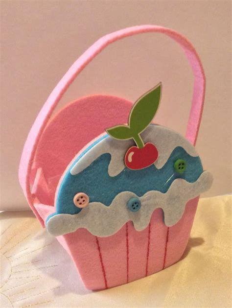 Handmade Felt Bags - handmade felt cupcake bag cupcake cup cake by