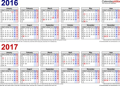 2016 Calendar Template Pdf Uk Two Year Calendars For 2016 2017 Uk For Pdf