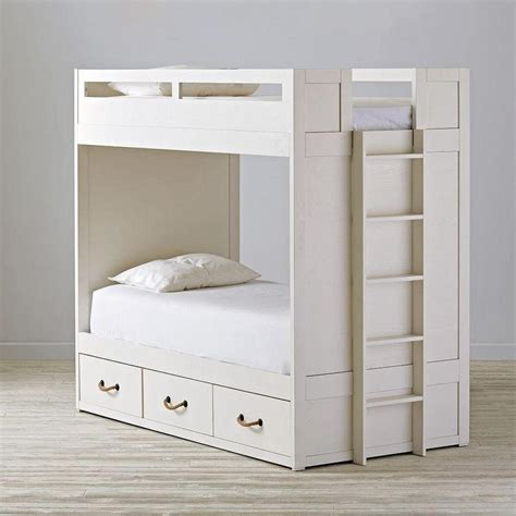 three bed bunk beds white three drawer bunk bed