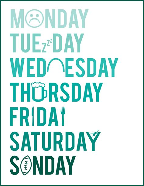 all the days of week monday from to shine