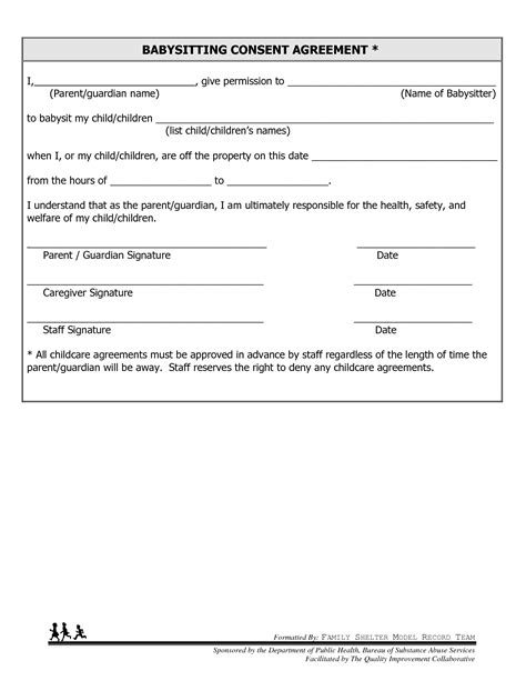 babysitting contract template 8 best images of free printable consent forms