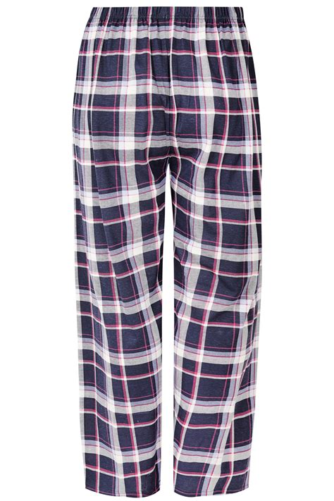 Wasch Und Trockner 1863 by Navy Check Print Pyjama Bottoms Plus Size 16 To 36