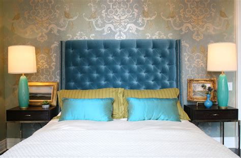 Blue Velvet Headboard Turquoise Velvet Headboard Contemporary Bedroom Summer Thornton Design