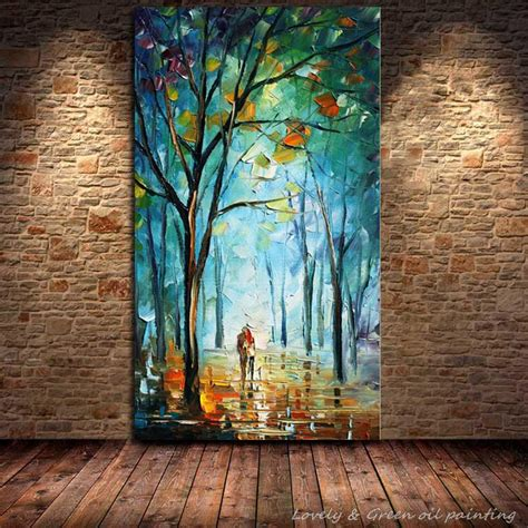 home decor canvas painting abstract city street landscape 100 handpainted blue city tree street modern abstract oil