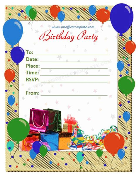 birthday invitation card template free word templates birthday invitation template