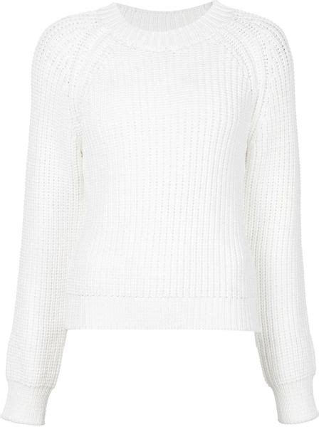 calvin klein knit sweater calvin klein ribbed knit sweater in white lyst