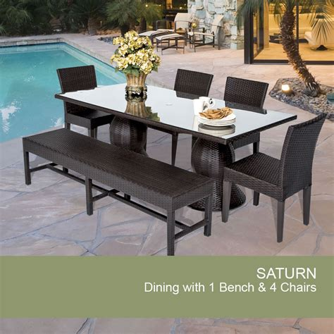 outdoor table and bench seats saturn rectangular outdoor patio dining table with 4