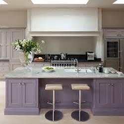Purple kitchen island   Painted kitchen design ideas