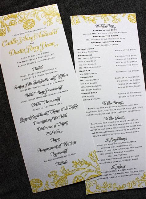 30 wedding program design ideas to guide your guest - Wedding Ceremony Program Ideas
