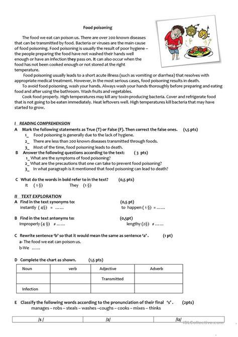 food poisoning worksheet free esl printable worksheets made by teachers