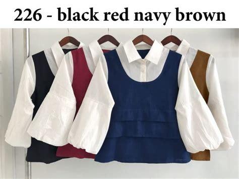 Set Pink Atasan Tgn Variasi Pitacelana baju atasan blouse 226 katun busana kerja wanita murah