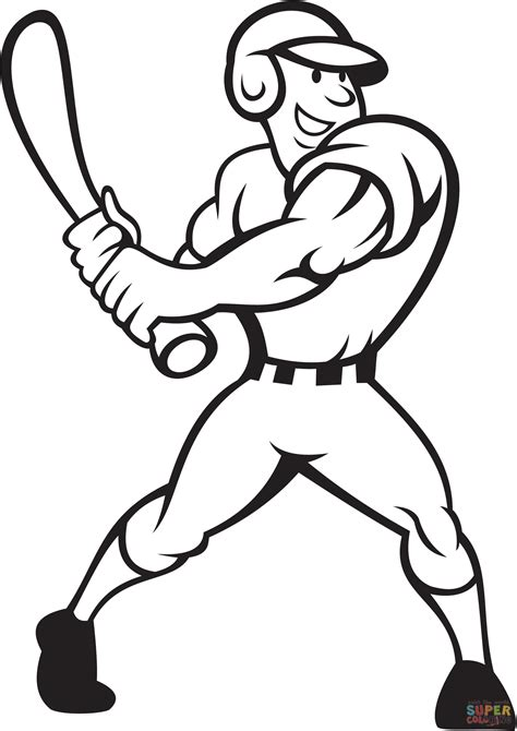 baseball player batting side coloring page free
