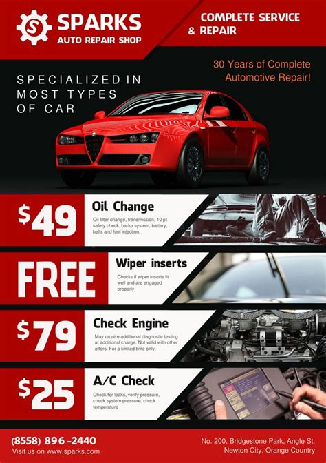 car flyer template template for flyer a5 auto repair shop theme