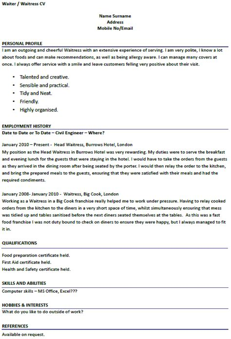 resume waitress exle modern design waitress resume exle resume exle