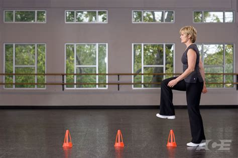ace fit ab exercises  stepping  cones