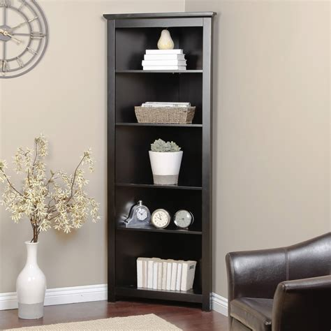 corner shelves living room redford black corner bookcase at hayneedle