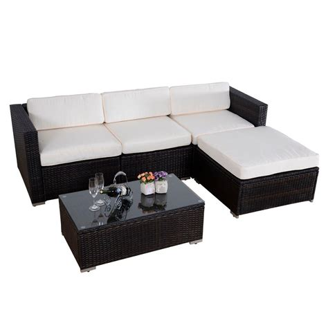 Convenience Boutique Outdoor 5 Pc Patio Pe Wicker Rattan Wicker Sectional Patio Furniture