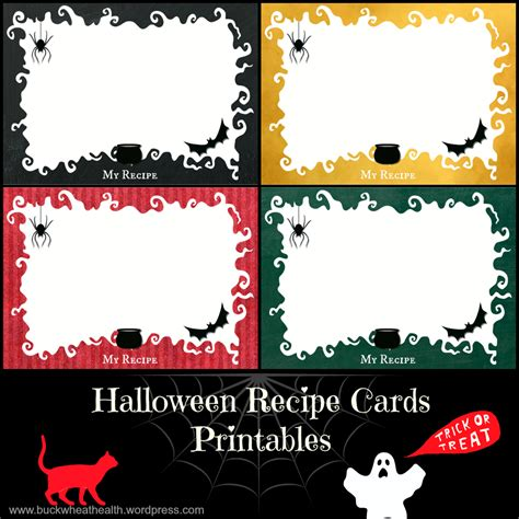 printable halloween recipes free halloween recipe cards printables buckwheat for