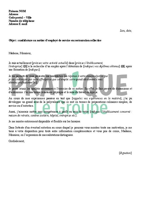 Lettre De Motivation De Employé Libre Service Lettre De Motivation Pour Employ 195 169 Libre Service