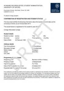 Certification Letter For Enrollment Student Self Service University Of Oxford