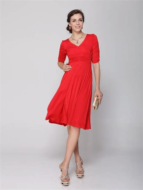 casual cocktail sleeve ruched waist v neck casual cocktail dress