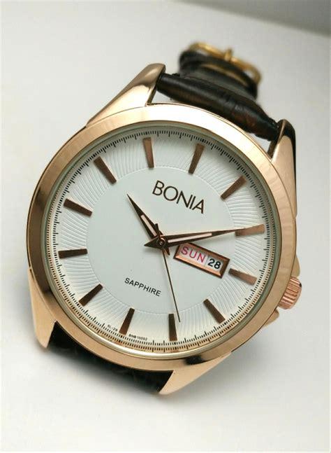 jual jam tangan pria bonia tali kulit coklat dark brown