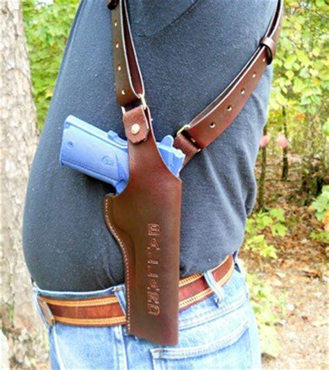 Handmade Leather Shoulder Holster - custom leather shoulder holster mag holder vertical