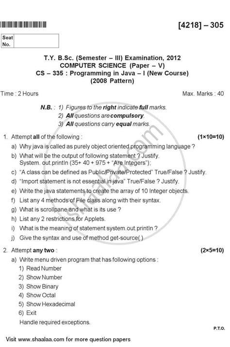 bca question paper pune university question paper programming in java 1 2013 2014 b sc